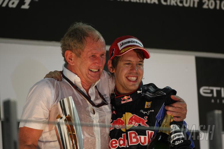 Race, Sebastian Vettel (GER), Red Bull Racing, RB6 race winner and 2010 Champion and Helmut Marko, R