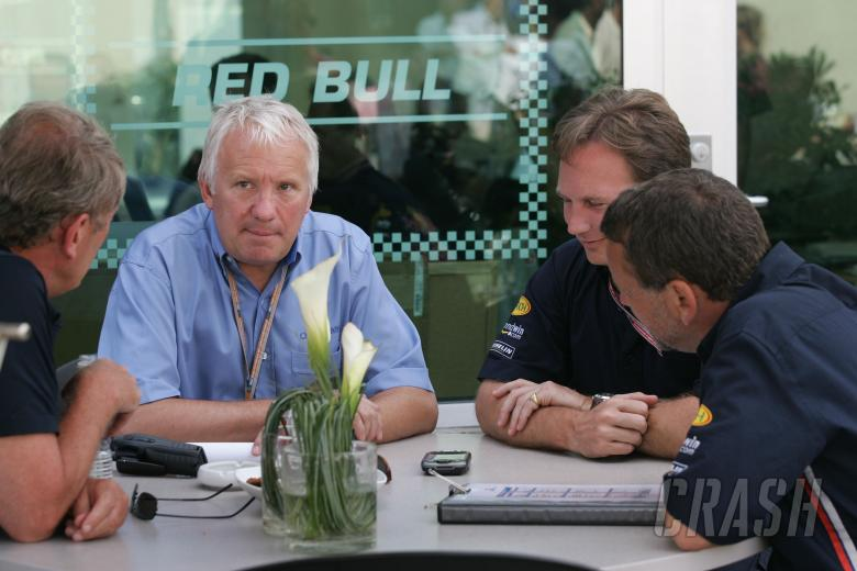 Red Bull Racing`s Christian Horner, Dave Stubbs and Helmut Marko meet with FIA race director and saf