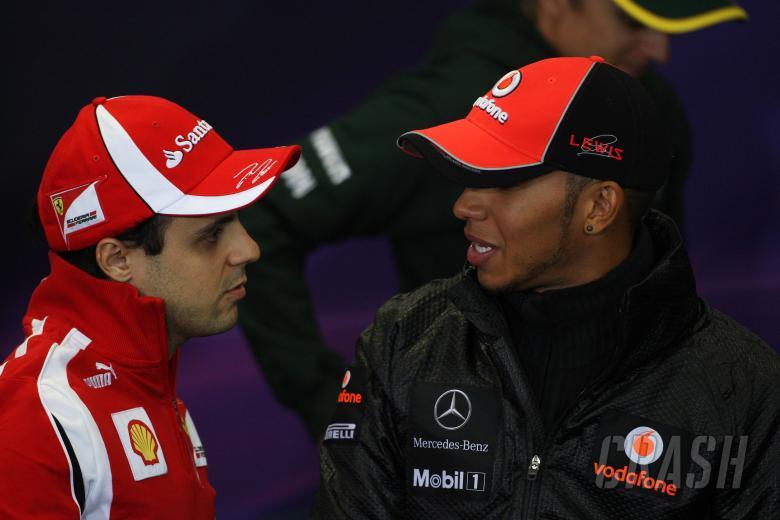 05.05.2011- Press conference, Felipe Massa (BRA), Scuderia Ferrari, F-150 Italia and Lewis Hamilton
