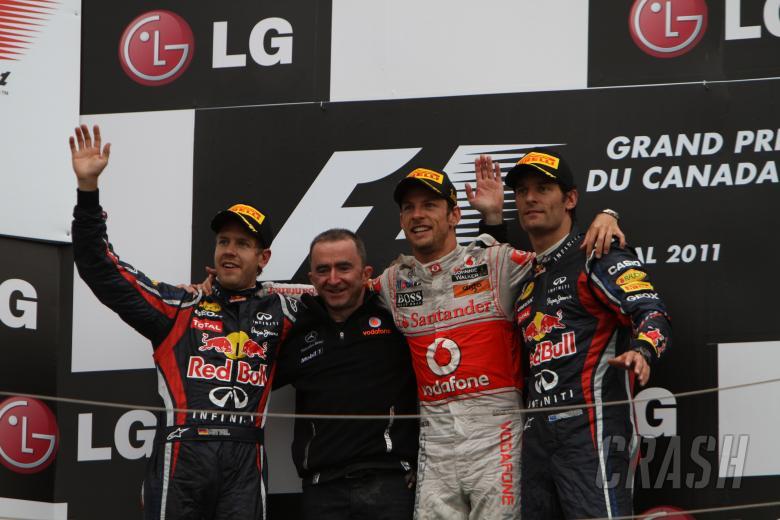 12.06.2011- Race, Jenson Button (GBR), McLaren  Mercedes, MP4-26 race winner, Sebastian Vettel (GER)