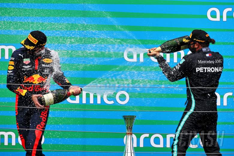 (L to R): Max Verstappen (NLD) Red Bull Racing celebrates his second position with race winner Lewis Hamilton (GBR) Mercedes AMG F1.