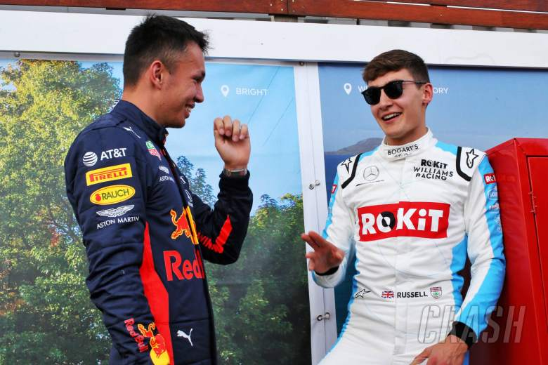 (L to R): Alexander Albon (THA) Red Bull Racing with George Russell (GBR) Williams Racing.