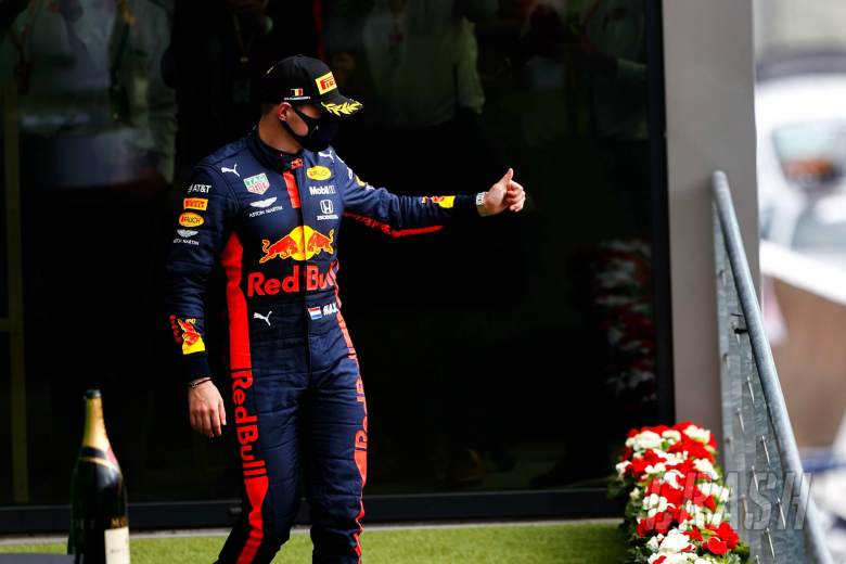 Max Verstappen (NLD) Red Bull Racing celebrates his third position on the podium.