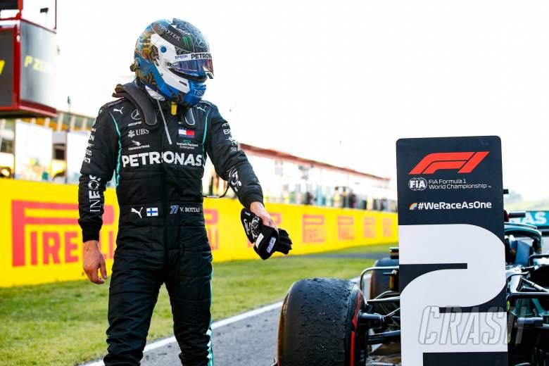 Second placed Valtteri Bottas (FIN) Mercedes AMG F1 W11 in parc ferme.
