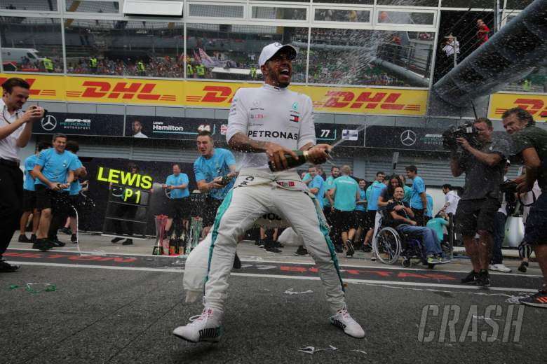 02.09.2018 - Race, Celebration, Lewis Hamilton (GBR) Mercedes AMG F1 W09 race winner and 3rd place Valtteri Bottas (FIN) Mercedes AMG F1 W09
