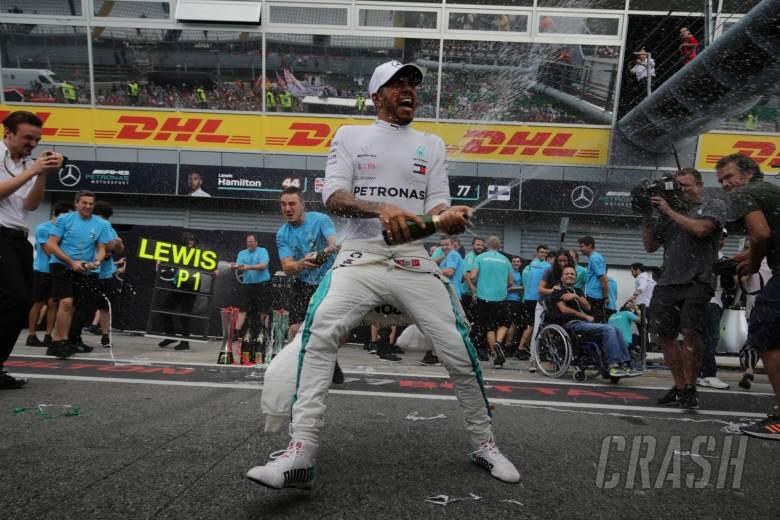 02.09.2018 - Race, Celebration, Lewis Hamilton (GBR) Mercedes AMG F1 W09 race winner and 3rd place Valtteri Bottas (FIN) Mercedes AMG F1 W09