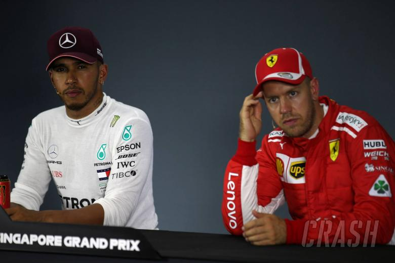 15.09.2018 - Qualifying, Press conference, Lewis Hamilton (GBR) Mercedes AMG F1 W09 and Sebastian Vettel (GER) Scuderia Ferrari SF71H