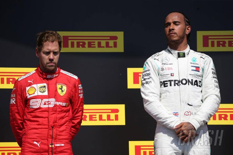 09.06.2019 - Race, 2nd place Sebastian Vettel (GER) Scuderia Ferrari SF90 and Lewis Hamilton (GBR) Mercedes AMG F1 W10 race winner