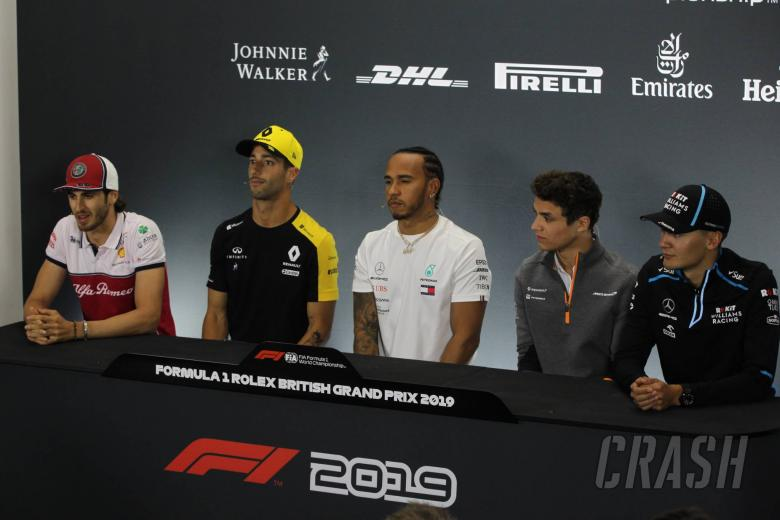 11.07.2019- Thursday Official Fia press conference, L to R Antonio Giovinazzi (ITA) Alfa Romeo Racing C38, Daniel Ricciardo (AUS) Renault Sport F1 Team RS19, Lewis Hamilton (GBR) Mercedes AMG F1 W10 EQ Power Lando Norris (GBR) Mclaren F1 Team MCL34 and George Russell (GBR) Williams F1 FW42