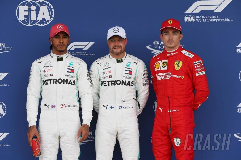 13.07.2019- Qualifying celebration, Pole Position Valtteri Bottas (FIN) Mercedes AMG F1 W10 EQ Power, 2nd place Lewis Hamilton (GBR) Mercedes AMG F1 W10 EQ Power, 3rd place Charles Leclerc (MON) Scuderia Ferrari SF90