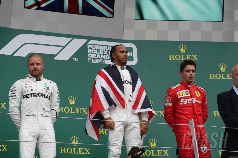 14.07.2019- podium, winner Lewis Hamilton (GBR) Mercedes AMG F1 W10 EQ Power, 2nd place Valtteri Bottas (FIN) Mercedes AMG F1 W10 EQ Power, 3rd place Charles Leclerc (MON) Scuderia Ferrari SF90