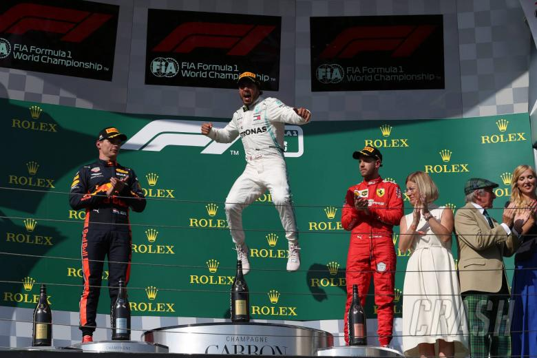 04.08.2019 - Race, 2nd place Max Verstappen (NED) Red Bull Racing RB15, Lewis Hamilton (GBR) Mercedes AMG F1 W10 race winner and 3rd place Sebastian Vettel (GER) Scuderia Ferrari SF90