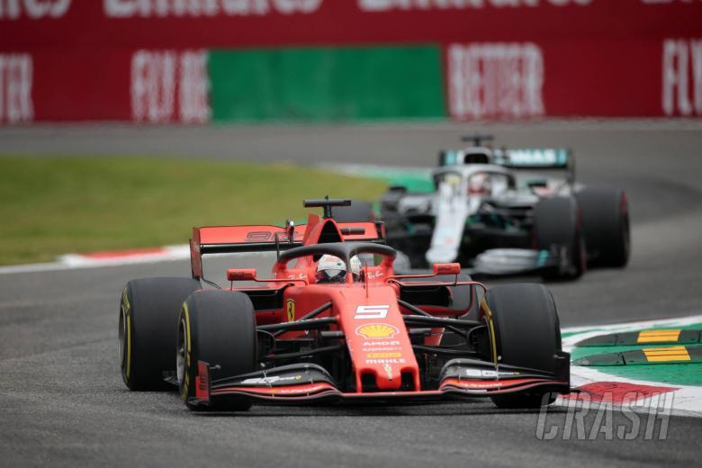 06.09.2019 - Free Practice 1, Sebastian Vettel (GER) Scuderia Ferrari SF90 leads Lewis Hamilton (GBR) Mercedes AMG F1 W10