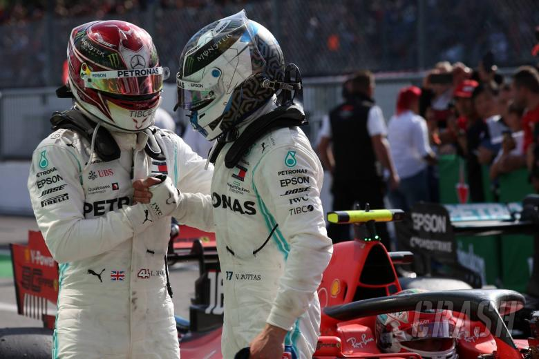 08.09.2019 - Race, 3rd place Lewis Hamilton (GBR) Mercedes AMG F1 W10 and 2nd place Valtteri Bottas (FIN) Mercedes AMG F1 W010