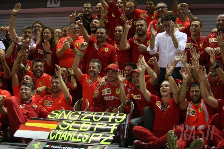 22.09.2019 - Race, Celebration, Sebastian Vettel (GER) Scuderia Ferrari SF90 race winner and 2nd place Charles Leclerc (MON) Scuderia Ferrari SF90
