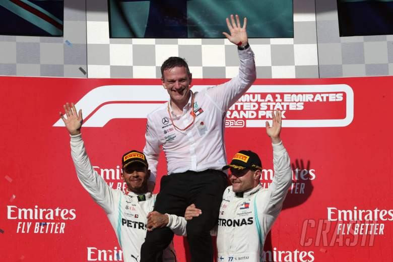 03.11.2019- podium, winner Valtteri Bottas (FIN) Mercedes AMG F1 W10 EQ Power, 2nd Lewis Hamilton (GBR) Mercedes AMG F1 W10 EQ 2019 World Champion with James Allison (GBR) Mercedes AMG F1, Technical Director
