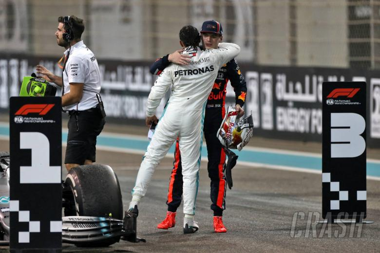 Race winner Lewis Hamilton (GBR) Mercedes AMG F1 celebrates in parc ferme with second placed Max Verstappen (NLD) Red Bull Racing. 01.12.2019.