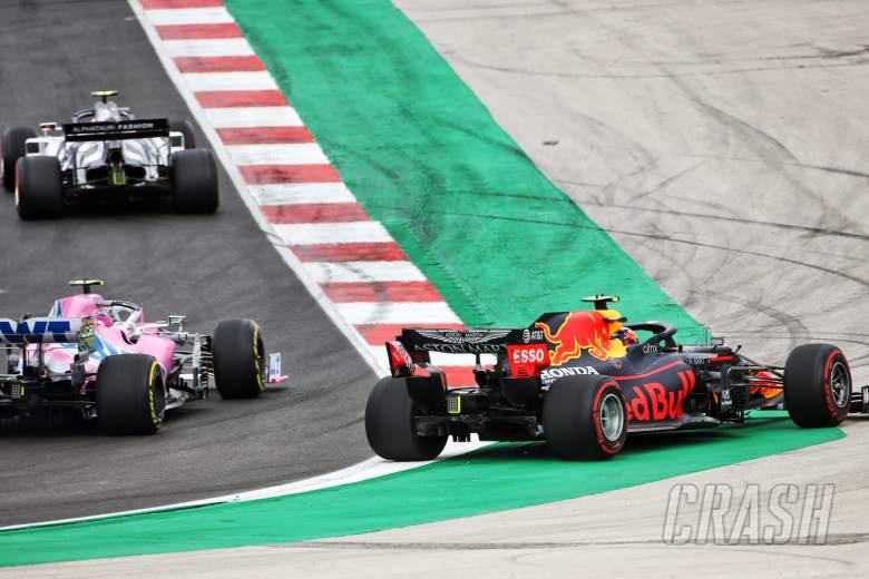 Alexander Albon (THA) Red Bull Racing RB16 runs wide.