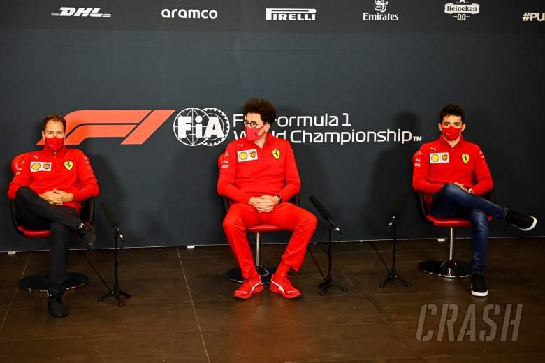 (L to R): Sebastian Vettel (GER) Ferrari; Mattia Binotto (ITA) Ferrari Team Principal; and Charles Leclerc (MON) Ferrari, in the FIA Press Conference.