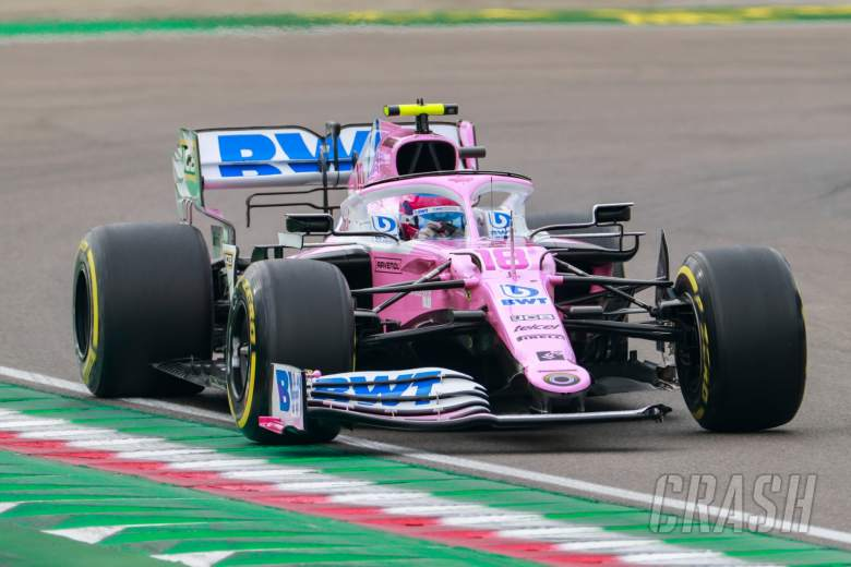 Lance Stroll (CDN) Racing Point F1 Team RP20 with a broken front wing.
