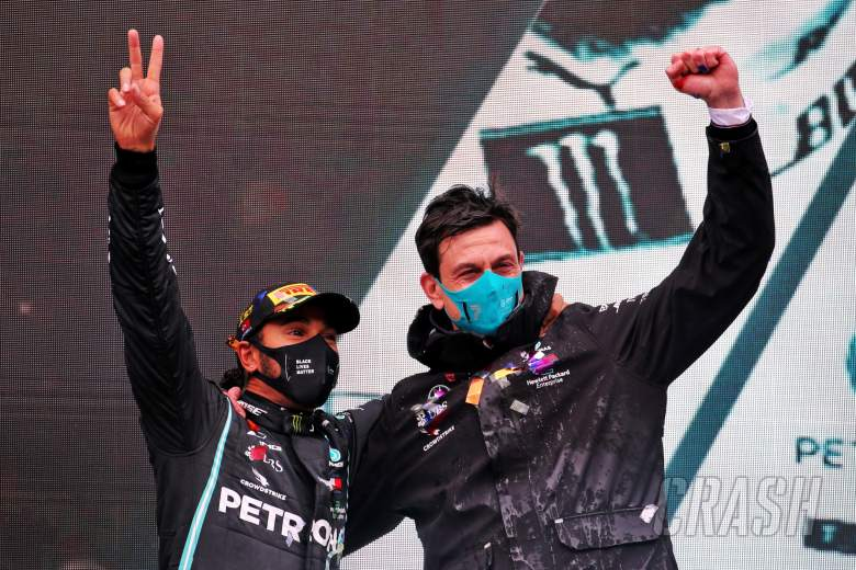 Race winner and World Champion Lewis Hamilton (GBR) Mercedes AMG F1 celebrates on the podium with Toto Wolff (GER) Mercedes AMG F1 Shareholder and Executive Director.