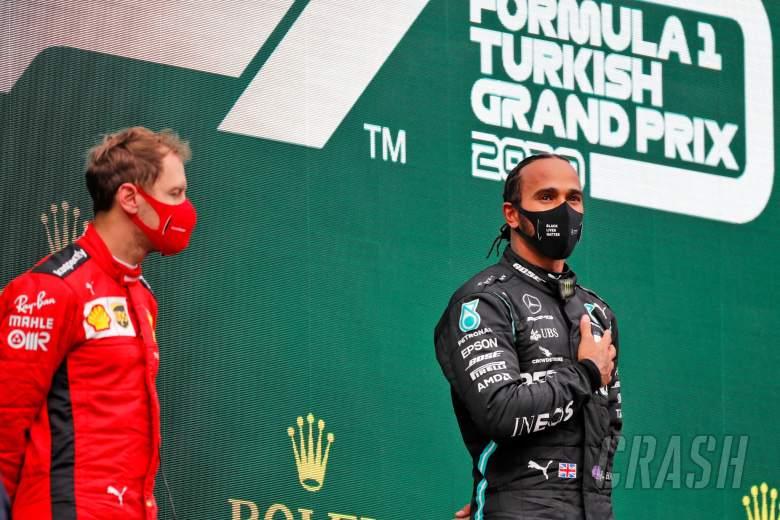 Race winner and World Champion Lewis Hamilton (GBR) Mercedes AMG F1 celebrates on the podium.