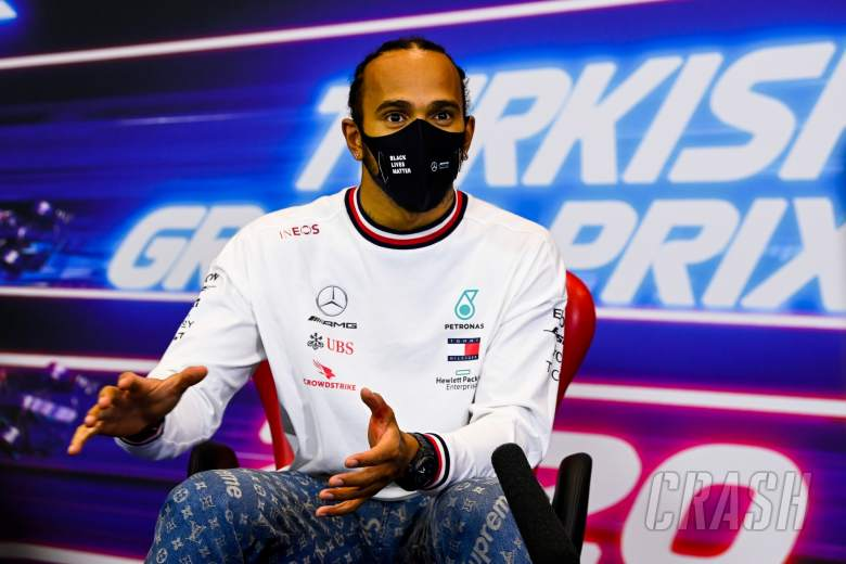 Race winner and World Champion Lewis Hamilton (GBR) Mercedes AMG F1 in the post race FIA Press Conference.