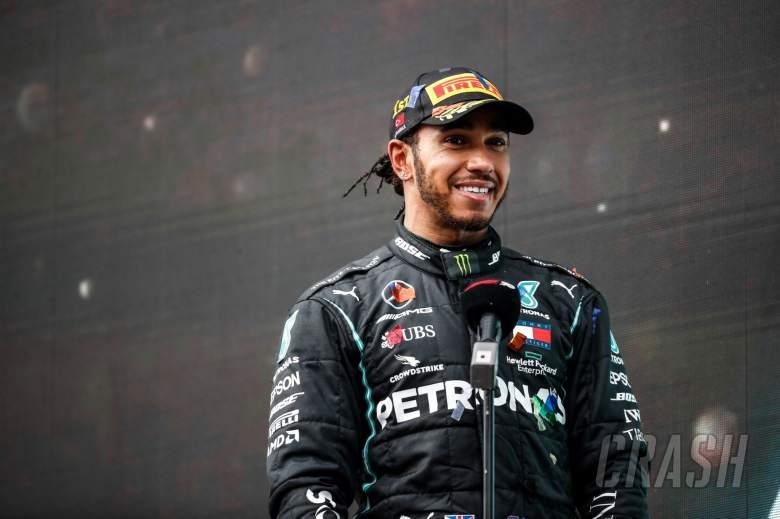 Race winner and World Champion Lewis Hamilton (GBR) Mercedes AMG F1 on the podium.