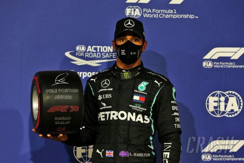 Lewis Hamilton (GBR) Mercedes AMG F1 celebrates with the Pirelli Pole Position Award in parc ferme.