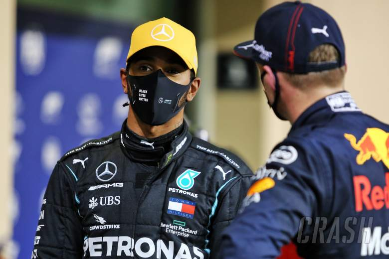 (L to R): Lewis Hamilton (GBR) Mercedes AMG F1 in qualifying parc ferme with Max Verstappen (NLD) Red Bull Racing.