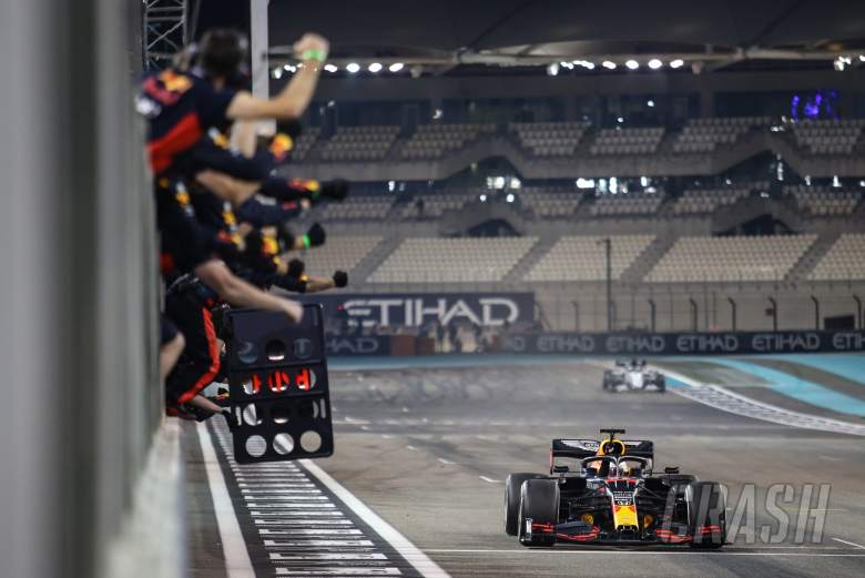 Race winner Max Verstappen (NLD) Red Bull Racing RB16 celebrates as he passes the team at the end of the race.