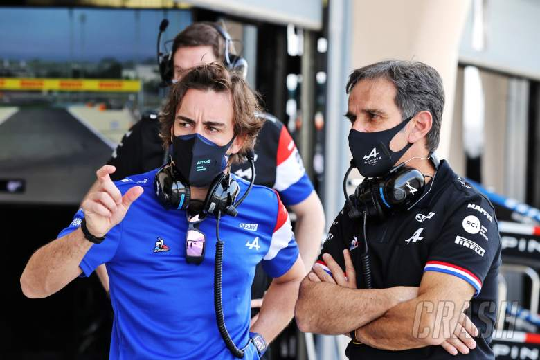 (L to R): Fernando Alonso (ESP) Alpine F1 Team with Davide Brivio (ITA) Alpine F1 Team Racing Director.