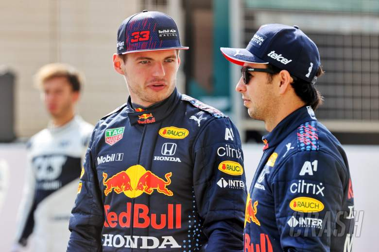 (L to R): Max Verstappen (NLD) Red Bull Racing and Sergio Perez (MEX) Red Bull Racing.