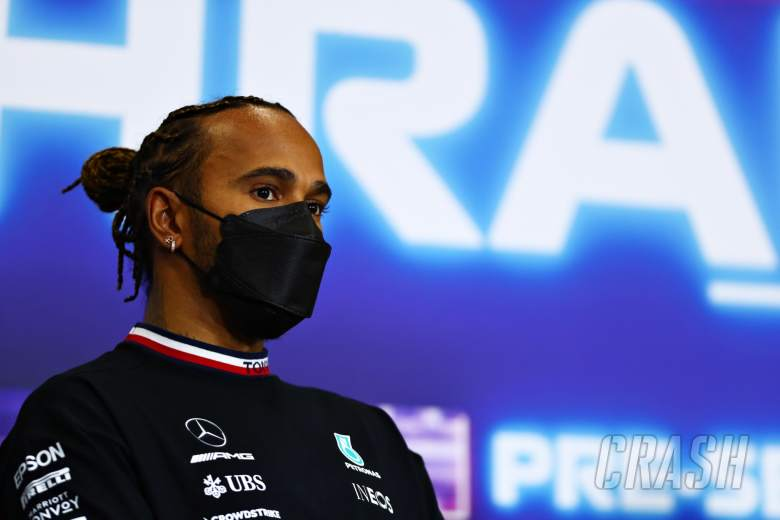 Lewis Hamilton (GBR) Mercedes AMG F1 in the FIA Press Conference.