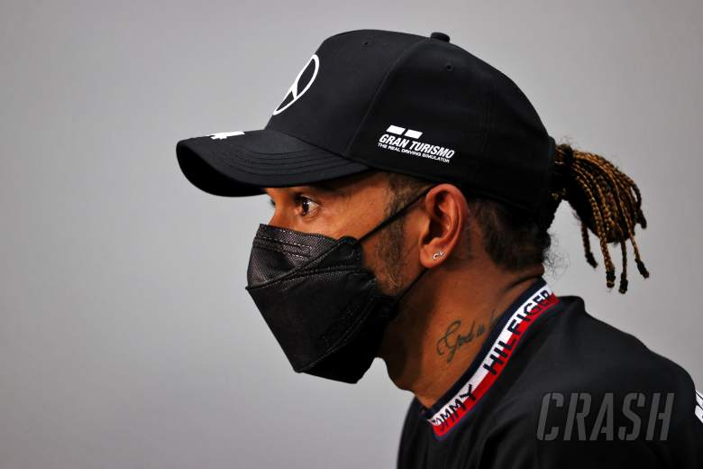 Lewis Hamilton (GBR) Mercedes AMG F1 in the post qualifying FIA Press Conference.