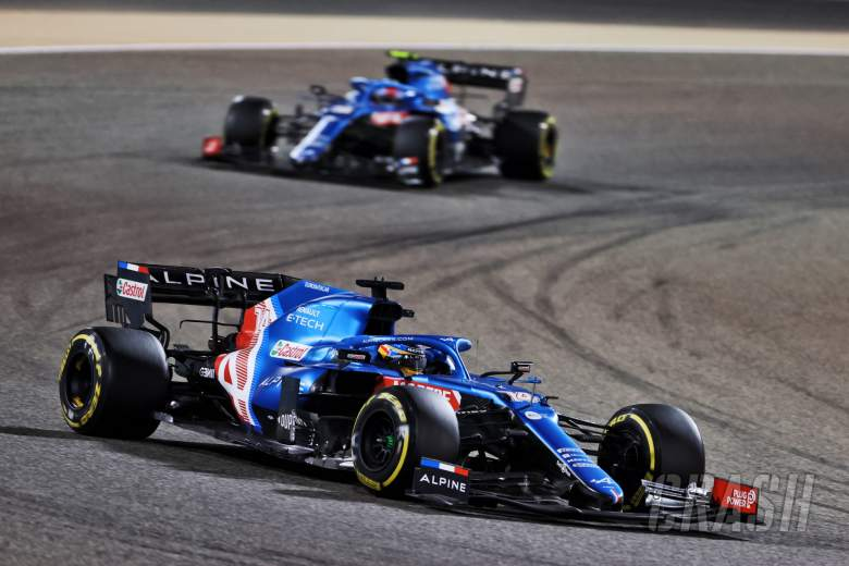 Fernando Alonso (ESP) Alpine F1 Team A521 leads team mate Esteban Ocon (FRA) Alpine F1 Team A521.