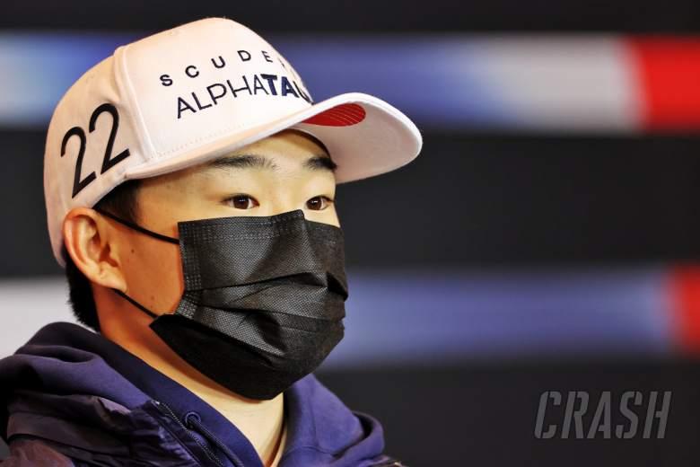 Yuki Tsunoda (JPN) AlphaTauri in the FIA Press Conference.