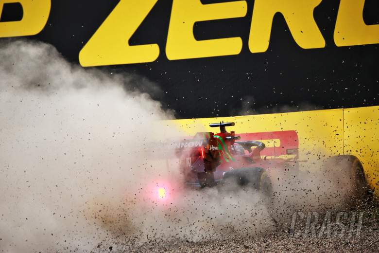 Charles Leclerc (MON) Ferrari SF-21 crashed in the second practice session.