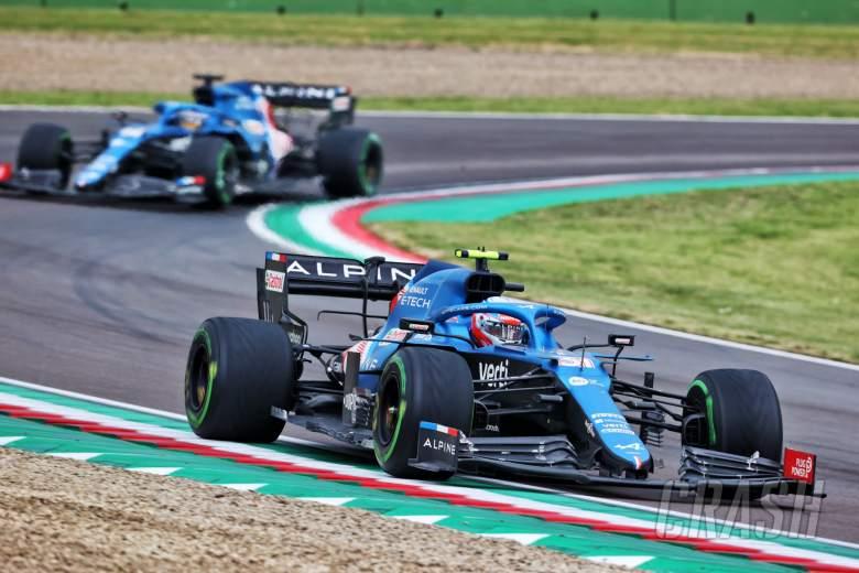 Esteban Ocon (FRA) Alpine F1 Team A521 leads team mate Fernando Alonso (ESP) Alpine F1 Team A521.