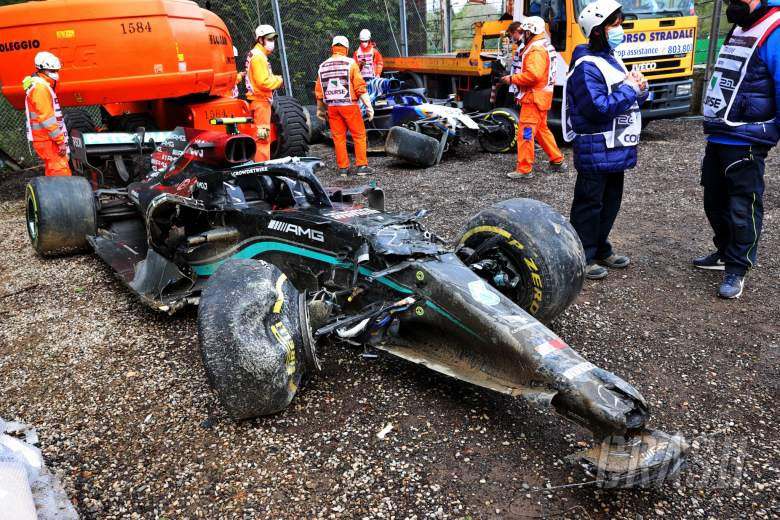 The damaged Mercedes AMG F1 W12 of Valtteri Bottas (FIN) and George Russell (GBR) Williams Racing FW43B, who crashed out of the race.