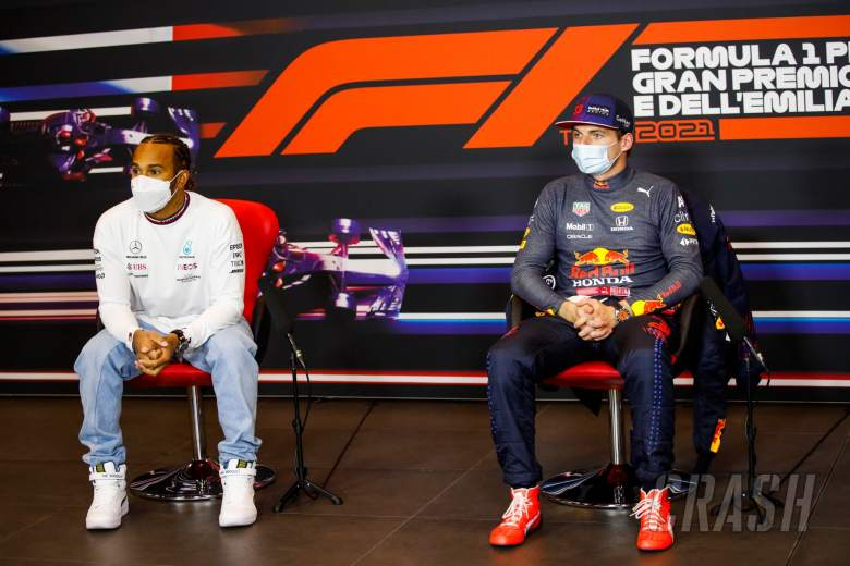 (L to R): Lewis Hamilton (GBR) Mercedes AMG F1 and Max Verstappen (NLD) Red Bull Racing in the post race FIA Press Conference.