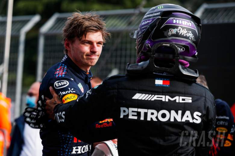 (L to R): Race winner Max Verstappen (NLD) Red Bull Racing celebrates in parc ferme with second placed Lewis Hamilton (GBR) Mercedes AMG F1.