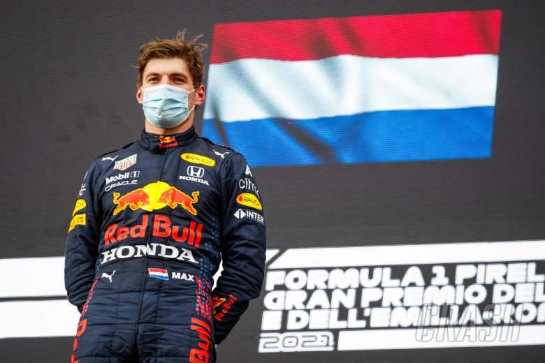 Race winner Max Verstappen (NLD) Red Bull Racing on the podium.