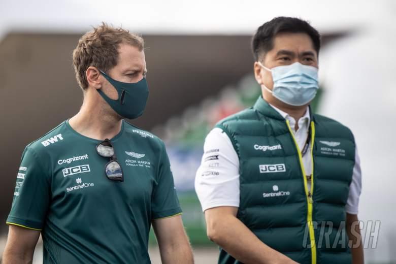 Sebastian Vettel (GER) Aston Martin F1 Team with Jun Matsuzaki (JPN) Aston Martin F1 Team Senior Tyre Engineer.