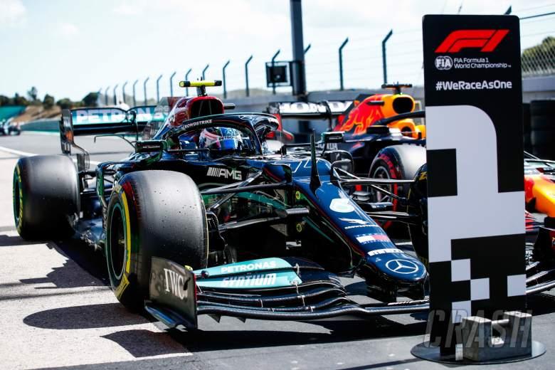 Pole sitter Valtteri Bottas (FIN) Mercedes AMG F1 W12 in qualifying parc ferme.