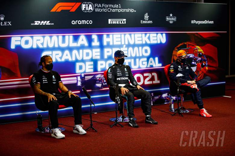 (L to R): Lewis Hamilton (GBR) Mercedes AMG F1; Valtteri Bottas (FIN) Mercedes AMG F1; and Max Verstappen (NLD) Red Bull Racing, in the post qualifying FIA Press Conference.