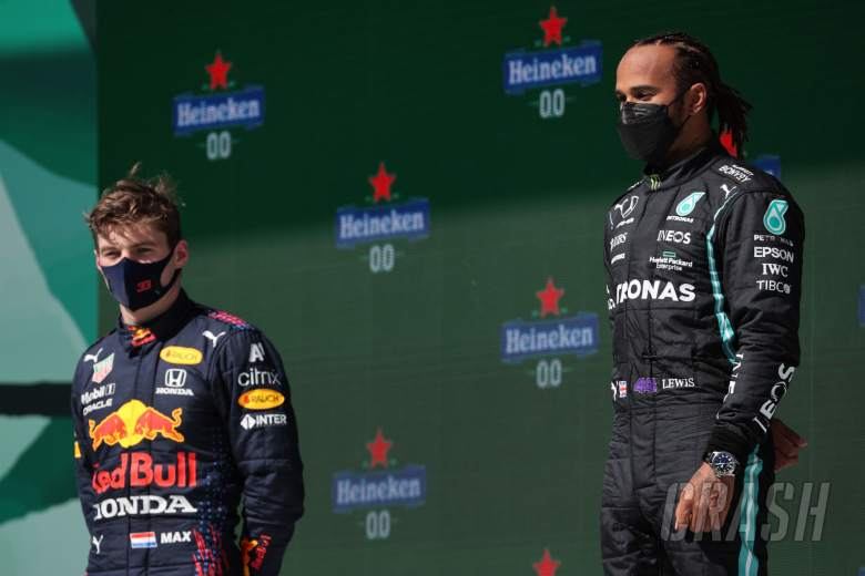 1st place Lewis Hamilton (GBR) Mercedes AMG F1 and 2nd place Max Verstappen (NLD) Red Bull Racing.
