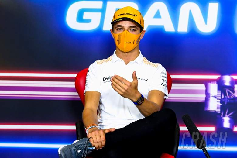 Lando Norris (GBR) McLaren in the FIA Press Conference.