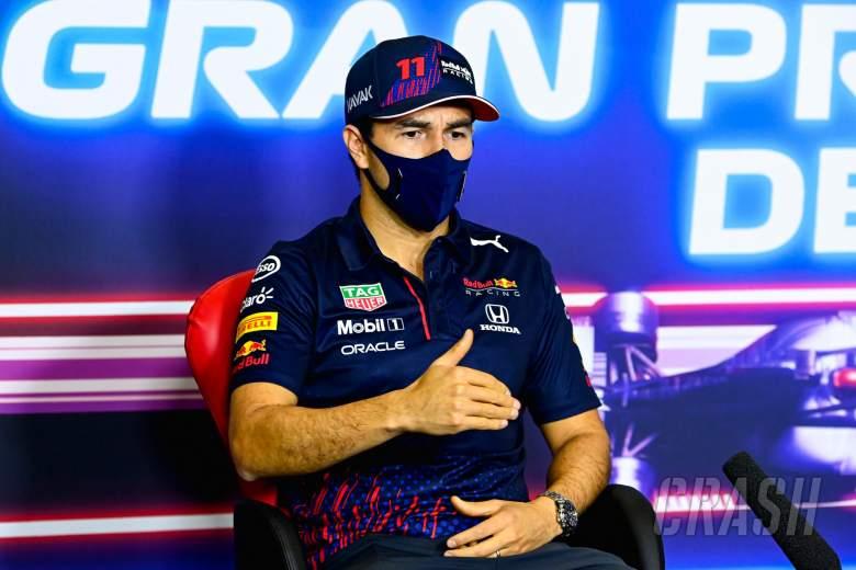 Sergio Perez (MEX) Red Bull Racing in the FIA Press Conference.