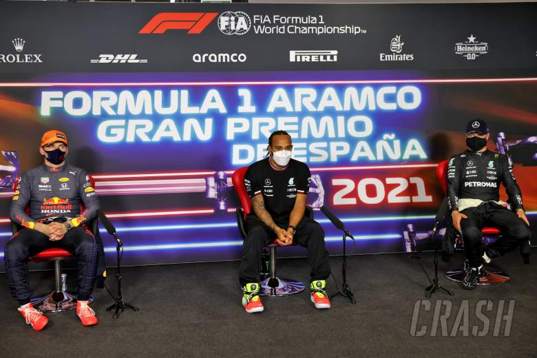 The post qualifying FIA Press Conference (L to R): Max Verstappen (NLD) Red Bull Racing; Lewis Hamilton (GBR) Mercedes AMG F1; Valtteri Bottas (FIN) Mercedes AMG F1.